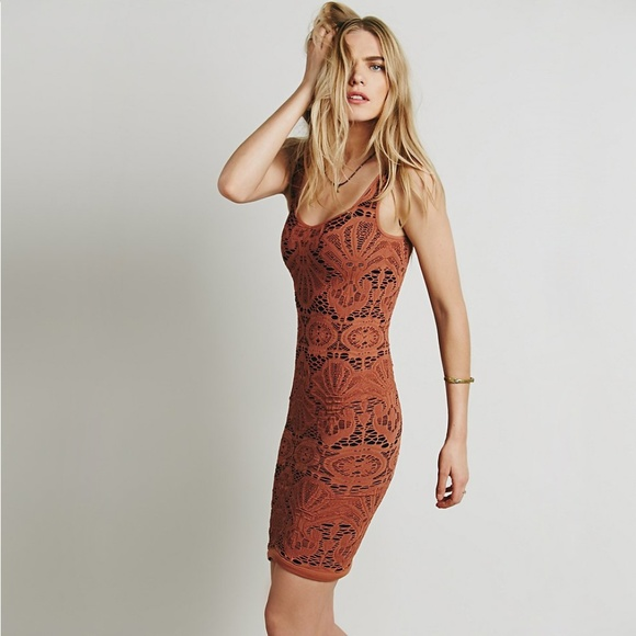 Free People Intimately Rust Sleeveless Crochet Bodycon $68 Slip Dress Sz XS S